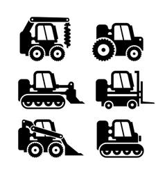 Bobcat Machine Icons Set vector image vector image
