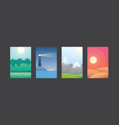 green forest lighthouse in sea mountain peaks vector image