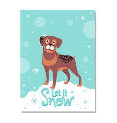 let it snow poster with rottweiler on snowdrift vector image