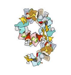 number 9 rubbish trash font nine sign garbage vector image vector image