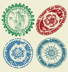 postcard stamp set vector image vector image