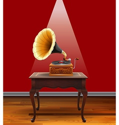Retro grammophone on table vector image