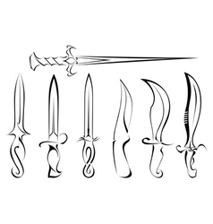 Set of silhouettes of knife tattoo vector image vector image