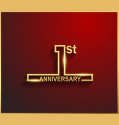1 anniversary line style golden color vector