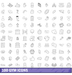 100 gym icons set outline style vector image