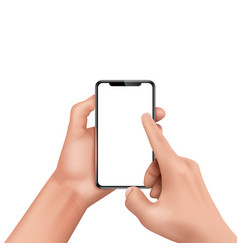 3d realistic human hand holding smartphone vector image