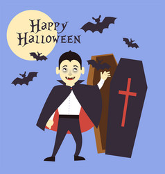A boy dressed as a vampire reaches out to the tomb vector