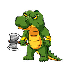 Angry crocodile is standing and holding vector