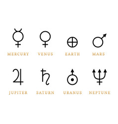 Astronomical symbols of eight planets vector