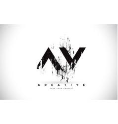 Av a v grunge brush letter logo design in black vector