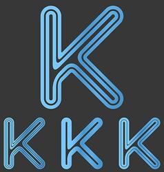 Blue line k logo design set vector