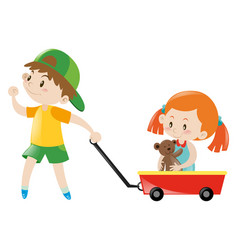 Boy pulling red cart with girl on it vector