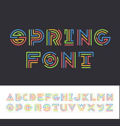 Bright color line geometrical latin font vector