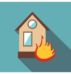 Burning house icon flat style vector