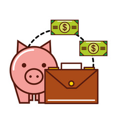 business piggy bank money banknote briefcase vector image