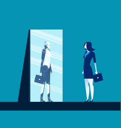 Businesswoman standing and looking body in mirror vector