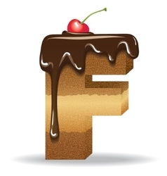 Cake letter F- birthday font vector