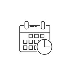 calendar with clock related line icon vector image