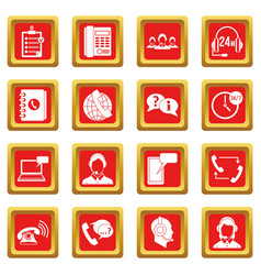 Call center symbols icons set red vector