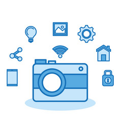 Camera photo wifi technology app vector