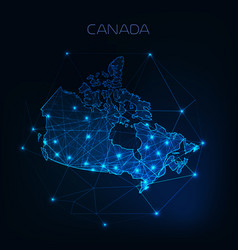 Canada map outline with stars and lines abstract vector