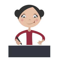 Cartoon girl writing at school desk vector