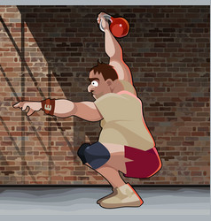 cartoon man crouches with kettlebell on brick vector image