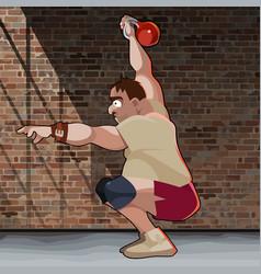 Cartoon man crouches with kettlebell on brick vector