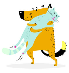 Cat and dog are hugging friendly pets vector