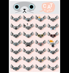 Cat emoji icons 3 vector