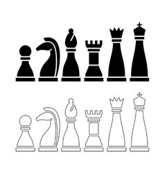 Chess pieces black and white figures vector image