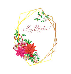 Christmas decoration with poinsettia flowers vector