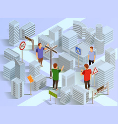 City navigation isometric composition vector