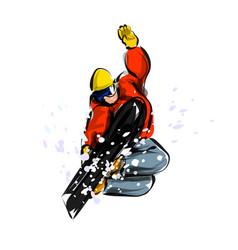 Color line sketch snowboarder vector