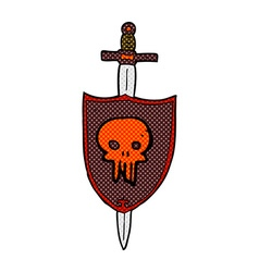 comic cartoon heraldic shield with skull vector image