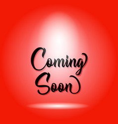 Coming soon poster design isolated red background vector