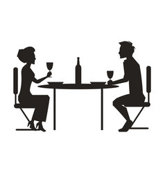 Couple dining together on vector