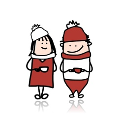 Couple walking with coffee cups cartoon for your vector image