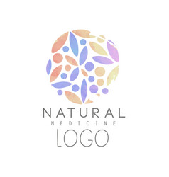 Creative emblem with colorful floral pattern in vector