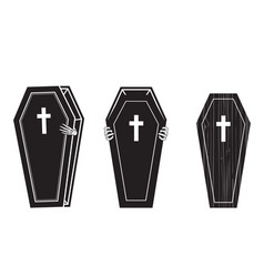 creepy coffin halloween icon set 1 vector image