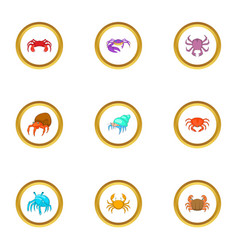 crustacean icons set cartoon style vector image