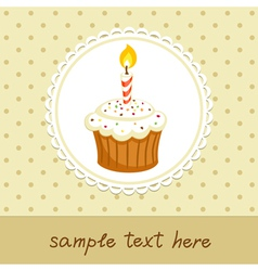 Cupcake with candle vector image