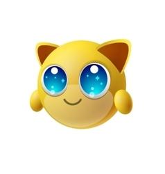 Cute animal emoji with big eyes cartoon character vector