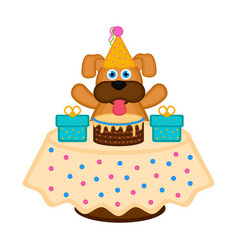 cute dog with a party hat a cake and presents vector image
