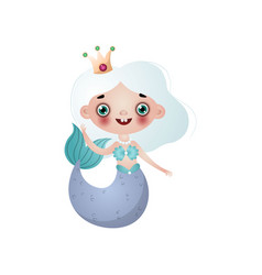 cute mermaid girl with white hair and crown on vector image