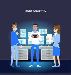 data analysis and research strategy management vector image