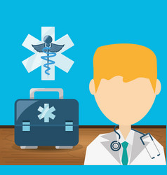 Doctor with stethoscope and briefcase with vector