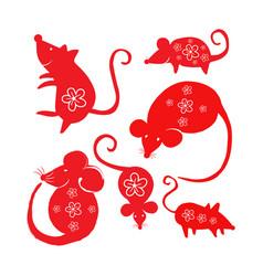 doodle rat set vector image