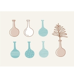 Doodle vases and flower design vector image vector image
