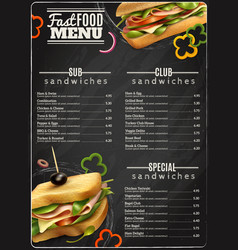 Fast food sandwiches menu advertisement poster vector